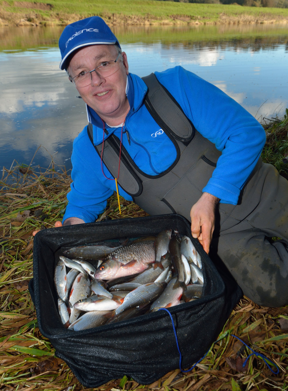 Deadly Method - Alan with 14-16lb of prime autumn Ribble roach and dace   which fell to slider tactics using bread and maggot hook bait
