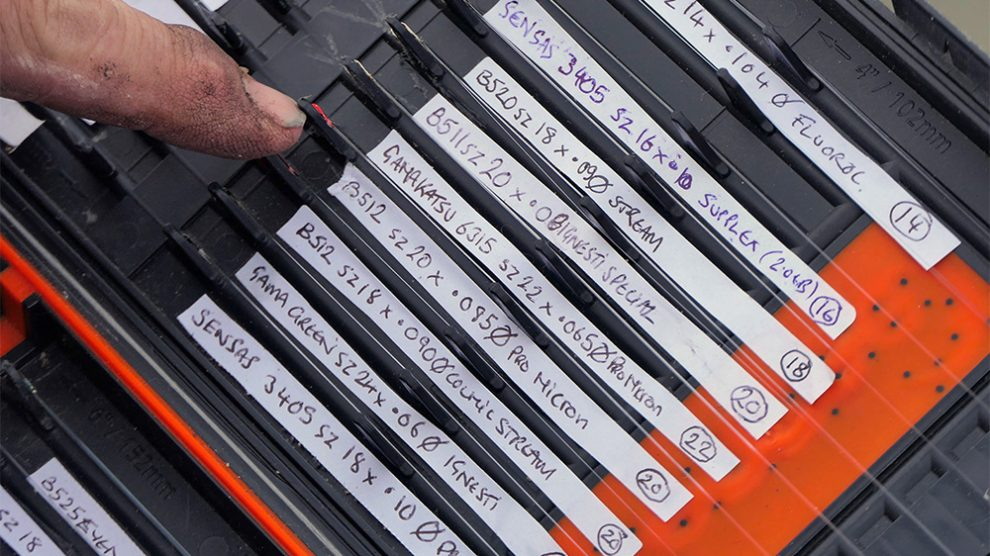 A ready supply of pre-tied canal hooks and hook lengths are kept in a rig box.