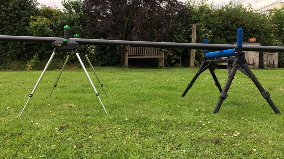 Let Me Roll It: When using two rollers the one nearest the angler - in this case the black and green one - is set up slightly taller than the rear (blue) roller, to prevent damage when shipping out.