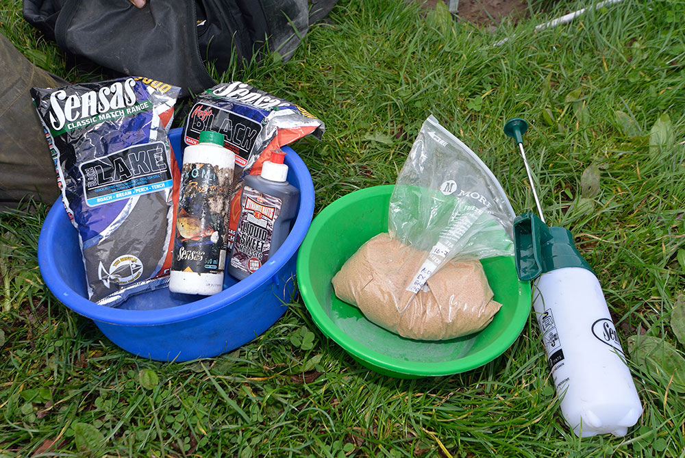 Magic mix - Alan's groundbaits and additives which he believes work well for bream.