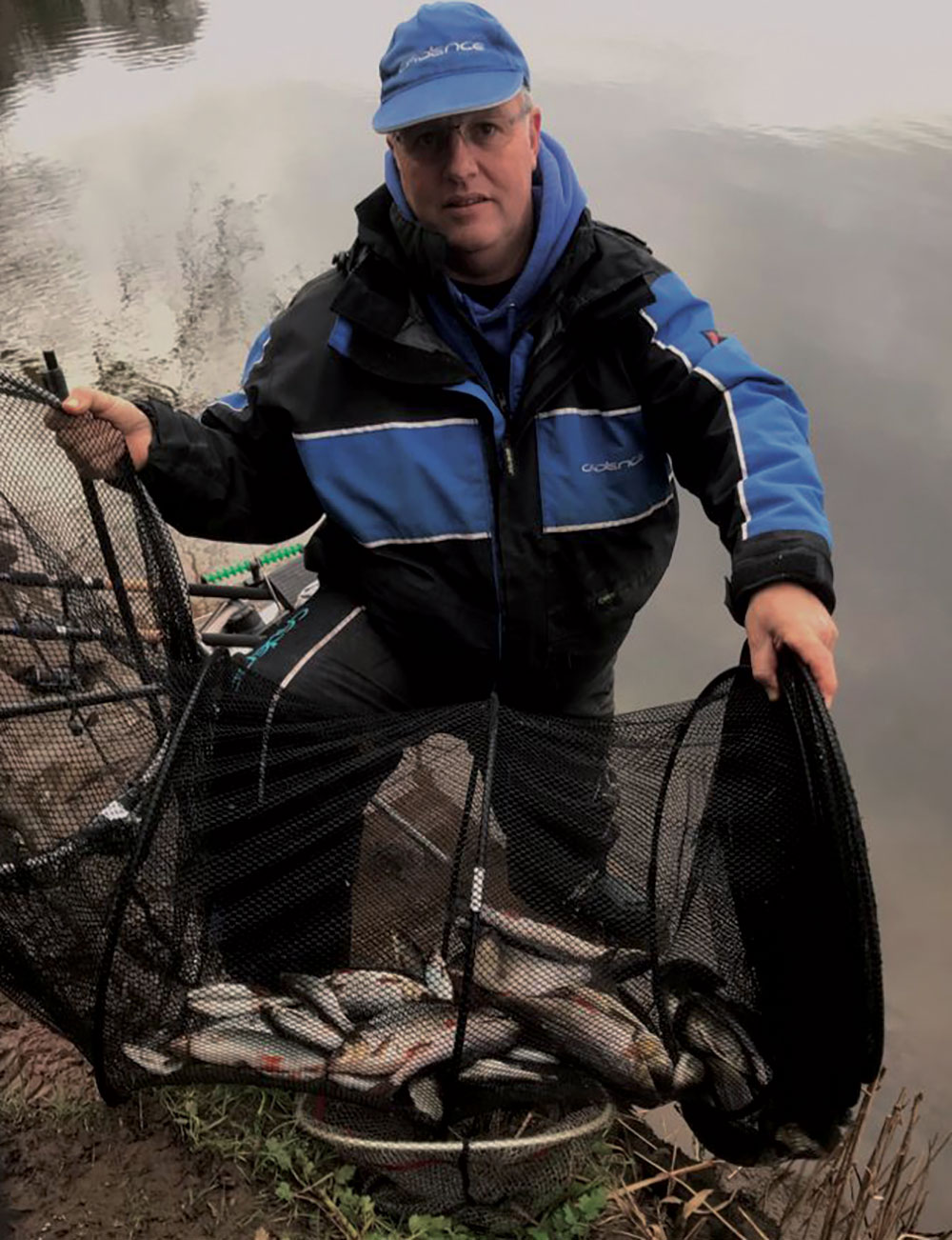 River Float Fishing with Punched Bread: Alan with a stunning bread punch net of Ribble roach, chub and dace taken in a four-hour session on a bolo approach with the float fished some 40 yards out down the middle of the river.