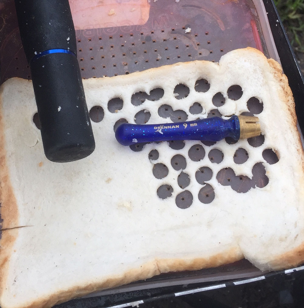 River Float Fishing with Punched Bread: A busy day! You can see that the Drennan punches really do create a clean, well compressed disc of punched bread. Essential for fuss-free fishing.