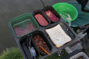 Alan's bait tray - containing chopped worm, casters, pinkies, bread punch and big maggots